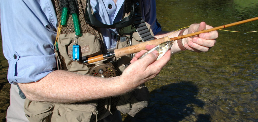 Holding the first trout caught on my Sweetgrass