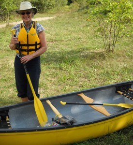 Lois with her yellow canoe