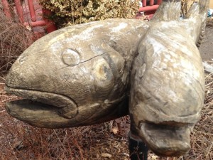 Contemporary sculpture of Roscoe's legendary two-headed trout
