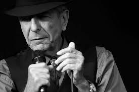 An older Leonard Cohen in concert